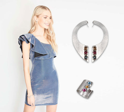 The perfect metallic dress and Rainbow jewelry | blingtalks