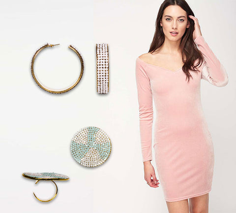 The perfect xmas outfit pink velvet dress and swarovski jewelry | blingtalks