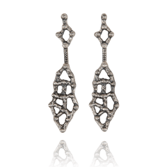 Dangle Earrings made of Oxidised Sterling Silver named Amorphous Beauty - photo with jewelry only