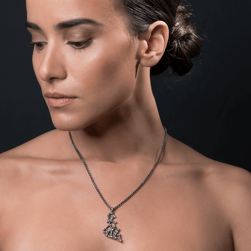 Pendant Necklace made of Oxidised Sterling Silver named Amorphous Forms - photo of jewelry with model