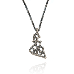 Pendant Necklace made of Oxidised Sterling Silver named Amorphous Forms - photo with jewelry only