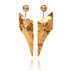 Drop Earrings made of Yellow Gold Plated Sterling Silver named Athena's Spear - photo with jewelry only