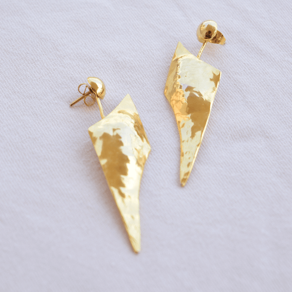 Drop Earrings made of Yellow Gold Plated Sterling Silver named Athena's Spear - customer photo