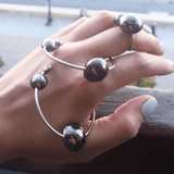 Hoop Earrings made of Rhodium Plated Sterling Silver named Celestial Orbs Dark - customer photo