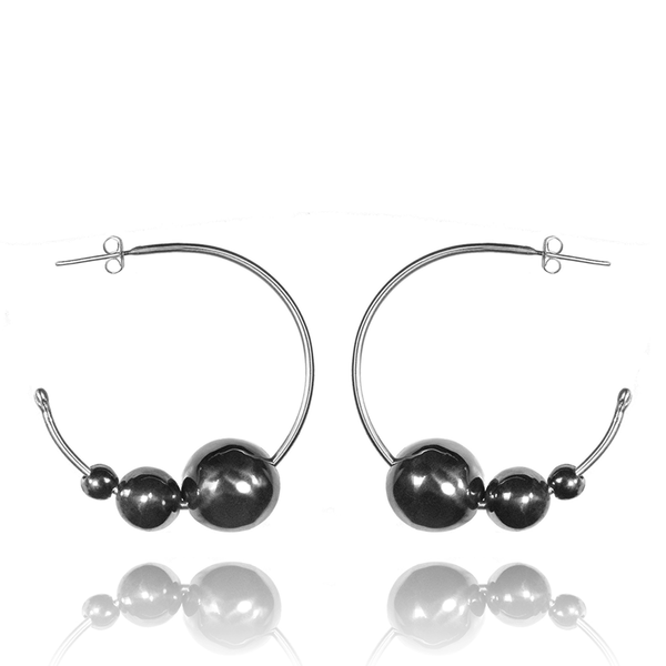 Hoop Earrings made of Rhodium Plated Sterling Silver named Celestial Orbs Dark - photo with jewelry only