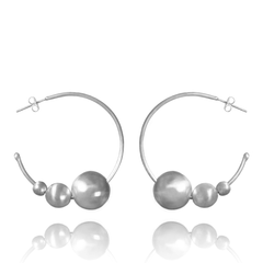 Hoop Earrings made of Sterling Silver named Celestial Orbs Light - photo with jewelry only
