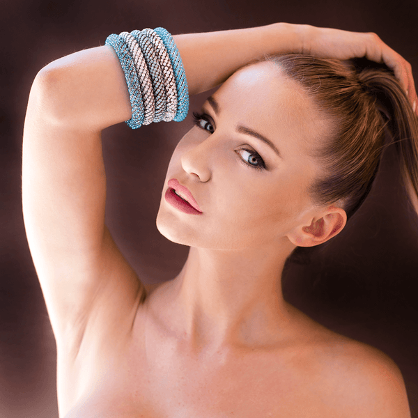 Bangle Bracelet made of Swarovski Crystals, Rhodium Plated named Heavenly Gems - photo of jewelry with model
