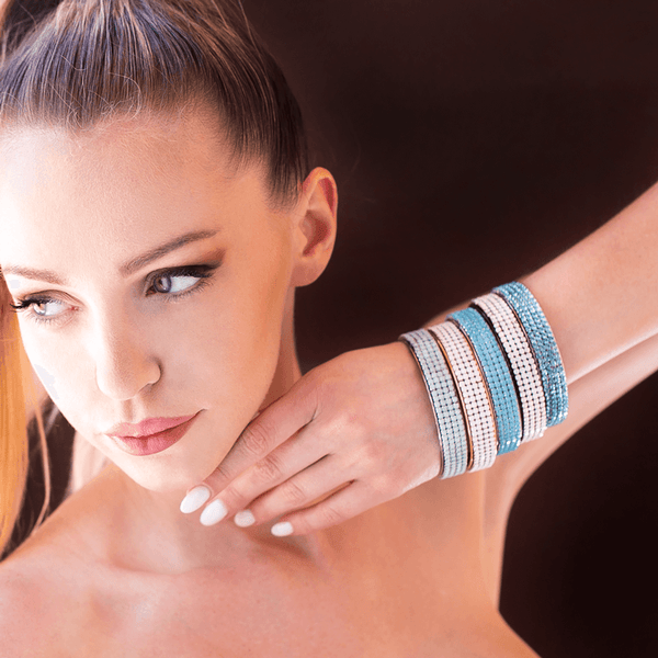 Bangle Bracelet made of Swarovski Crystals, Rhodium Plated named Ocean Dots - photo of jewelry with model