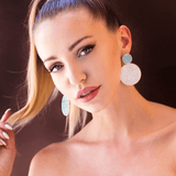 Dangle Earrings made of Swarovski Crystals, Rhodium Plated named Playful Drops Mint - photo of jewelry with model
