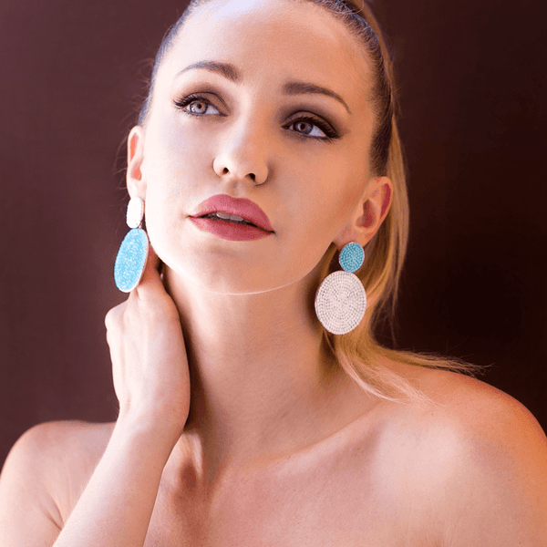 Dangle Earrings made of Swarovski Crystals, Rhodium Plated named Playful Drops Ocean - photo of jewelry with model