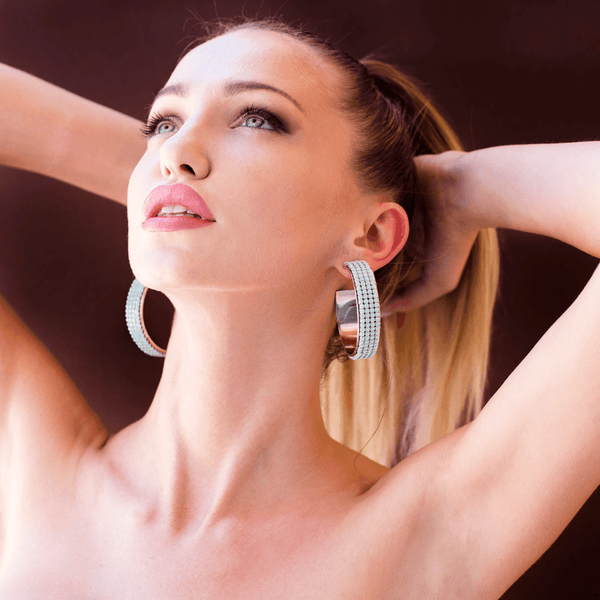 Hoop Earrings made of Swarovski Crystals, Rhodium Plated named Summer Breeze Mint - photo of jewelry with model