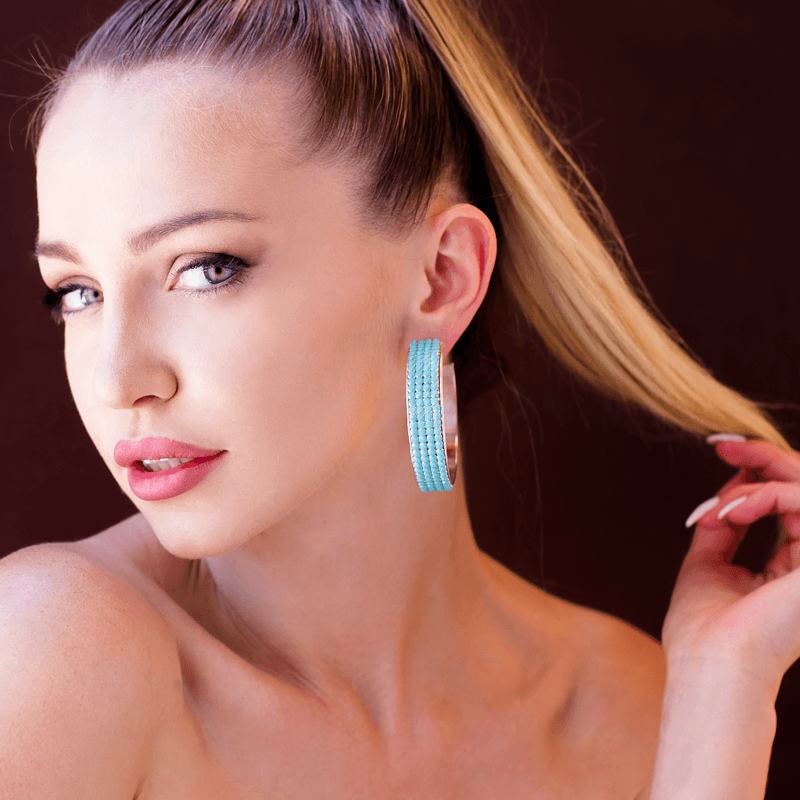 Hoop Earrings made of Swarovski Crystals, Rhodium Plated named Summer Breeze Ocean - photo of jewelry with model