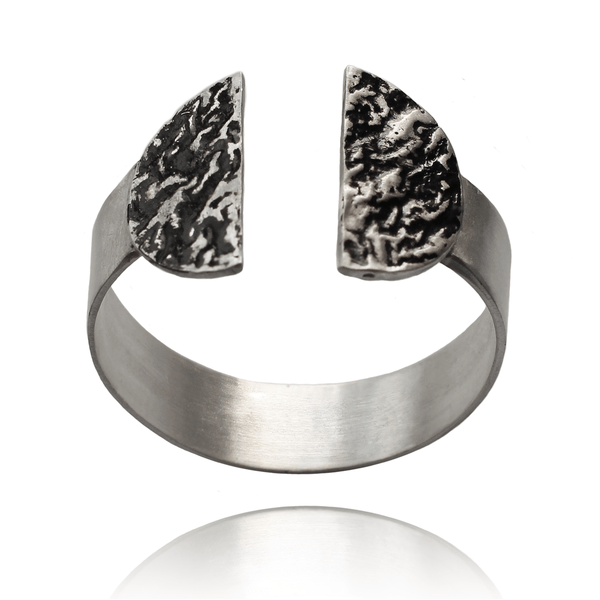 Cuff Bracelet made of Sterling Silver, Black Enamel named Eruption Cold - photo with jewelry only