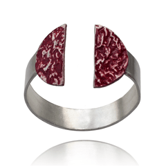 Cuff Bracelet made of Sterling Silver, Red Enamel named Eruption Hot - photo with jewelry only
