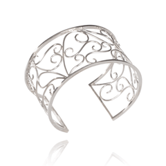Cuff Bracelet made of Sterling Silver named Filigree Scrolls - photo with jewelry only