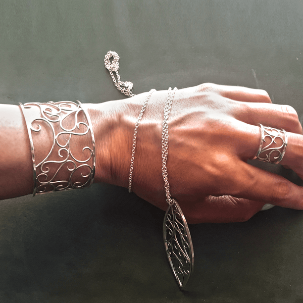 Cuff Bracelet made of Sterling Silver named Filigree Scrolls - customer photo