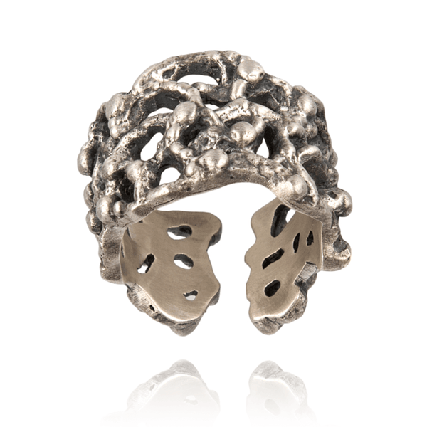 Fashion Ring made of Oxidised Sterling Silver named Forms of Nature - photo with jewelry only