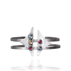 Cuff Bracelet made of Sterling Silver, Blue Topaz, Yellow Citrine, Red Ruby named Galaxy Cuff - photo with jewelry only
