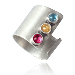 Fashion Ring made of Sterling Silver, Blue Topaz, Yellow Citrine, Red Ruby named Gem Ring - photo with jewelry only