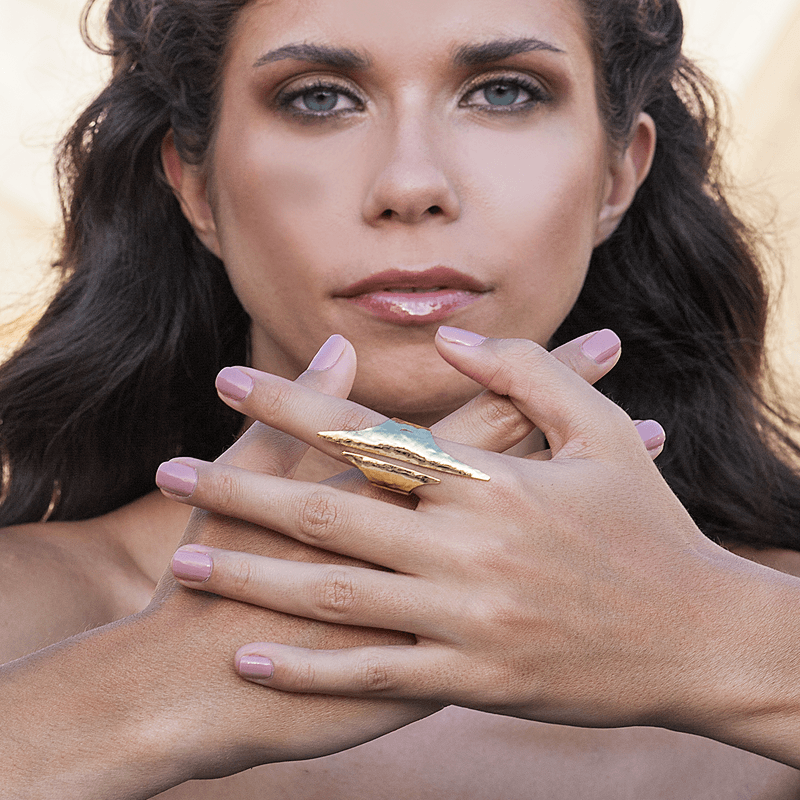 Fashion Ring made of Yellow Gold Plated Sterling Silver named Artemis Ring - photo of jewelry with model