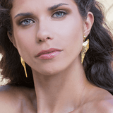 Drop Earrings made of Yellow Gold Plated Sterling Silver named Athena's Spear - photo of jewelry with model