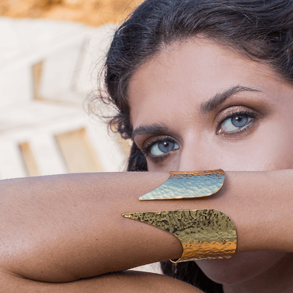 Cuff Bracelet made of Yellow Gold Plated Sterling Silver named Minerva's Edge - photo of jewelry with model