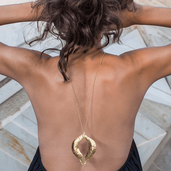 Pendant Necklace made of Yellow Gold Plated Sterling Silver named Venus Pendant - photo of jewelry with model
