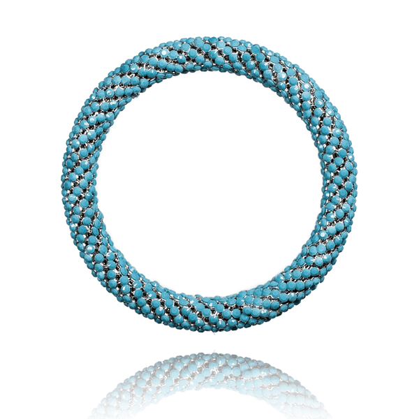 Bangle Bracelet made of Swarovski Crystals, Rhodium Plated named Heavenly Gems - photo with jewelry only - turquoise