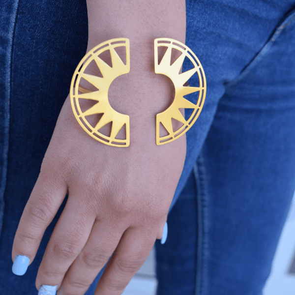 Cuff Bracelet made of Yellow Gold Plated Sterling Silver named Knus Cuff Bracelet - customer photo