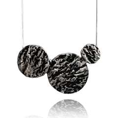 Pendant Necklace made of Sterling Silver, Black Enamel named Lava Drops Cold - photo with jewelry only