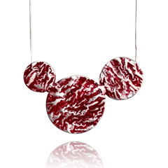 Pendant Necklace made of Sterling Silver, Red Enamel named Lava Drops Hot - photo with jewelry only