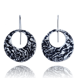 Dangle Earrings made of Sterling Silver, Black Enamel named Lava Falls Cold - photo with jewelry only