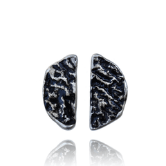 Stud Earrings made of Sterling Silver, Black Enamel named Lava Flows Cold - photo with jewelry only