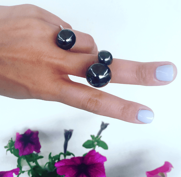 Fashion Ring made of Rhodium Plated Sterling Silver named Lunarscape Dark - customer photo