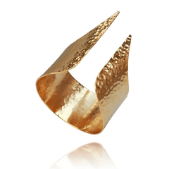 Cuff Bracelet made of Yellow Gold Plated Sterling Silver named Minerva's Edge - photo with jewelry only