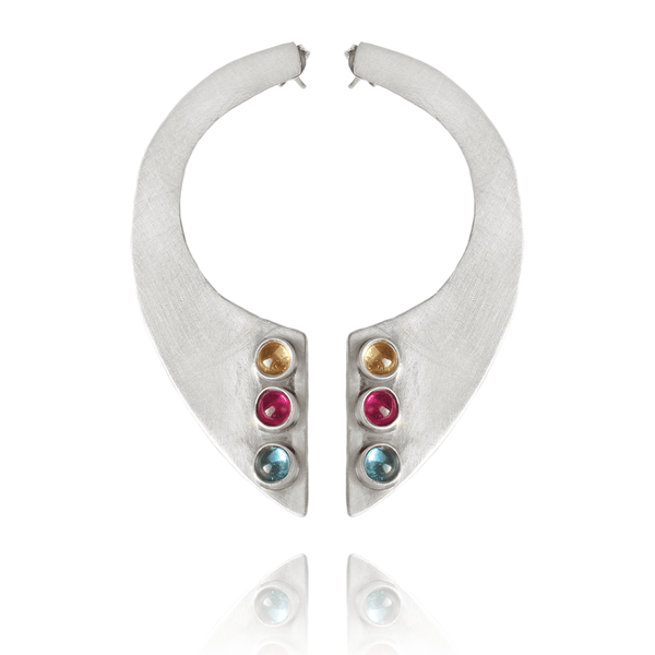 Drop Earrings made of Sterling Silver, Blue Topaz, Yellow Citrine, Red Ruby named Moon Gems - photo with jewelry only