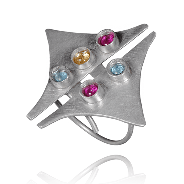 Fashion Ring made of Sterling Silver, Blue Topaz, Yellow Citrine, Red Ruby named Moonbow - photo with jewelry only