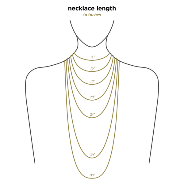Pendant Necklace made of Yellow Gold Plated Sterling Silver named The Sol Pendant - necklace size chart
