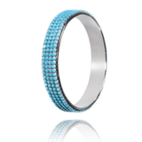Bangle Bracelet made of Swarovski Crystals, Rhodium Plated named Ocean Dots - photo with jewelry only - turquoise