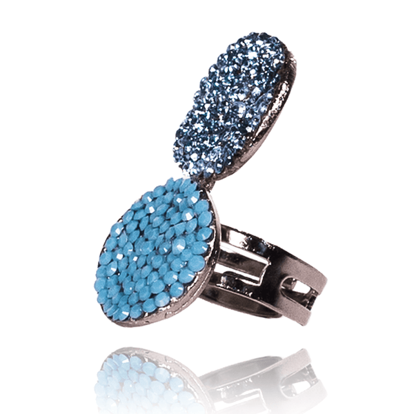 Fashion Ring made of Swarovski Crystals, Rhodium Plated named Ocean Reflections - photo with jewelry only - side photo