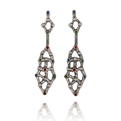 Dangle Earrings made of Oxidised Sterling Silver named Organic Geometry - photo with jewelry only