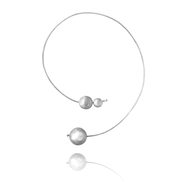 Collar Necklace made of Sterling Silver named Planets in Orbit Light - photo with jewelry only