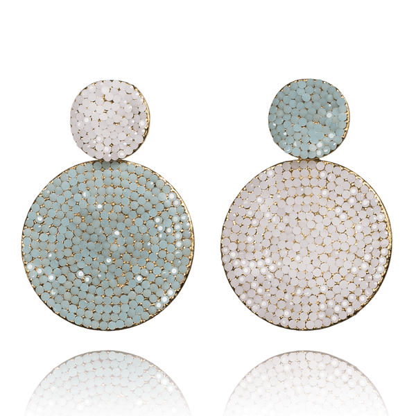 Dangle Earrings made of Swarovski Crystals, Rhodium Plated named Playful Drops Mint - photo with jewelry only