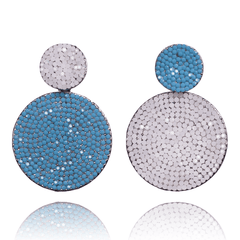 Dangle Earrings made of Swarovski Crystals, Rhodium Plated named Playful Drops Ocean - photo with jewelry only