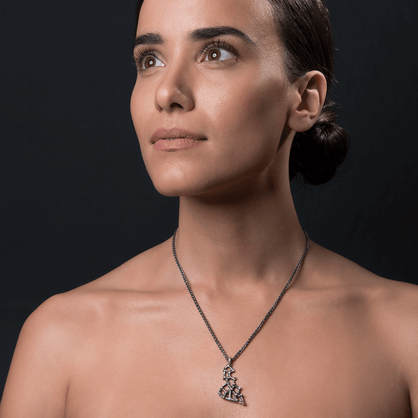 Pendant Necklace made of Oxidised Sterling Silver named Precious Amorphous - photo of jewelry with model