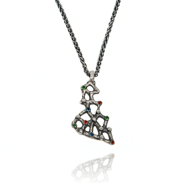 Pendant Necklace made of Oxidised Sterling Silver named Precious Amorphous - photo with jewelry only