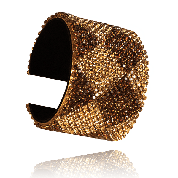 Cuff Bracelet made of Swarovski Crystals, Rhodium Plated, Leather named Sand Crystals - photo with jewelry only