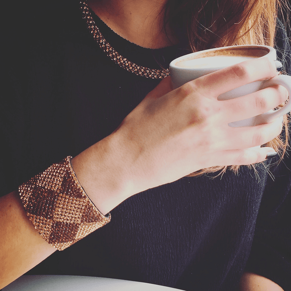 Cuff Bracelet made of Swarovski Crystals, Rhodium Plated, Leather named Sand Crystals - customer photo