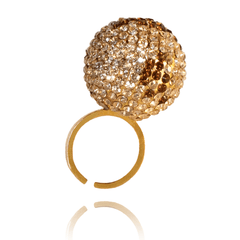 Cocktail Ring made of Yellow Gold Plated Sterling Silver, Swarovski Crystals named Sand Globe - photo with jewelry only