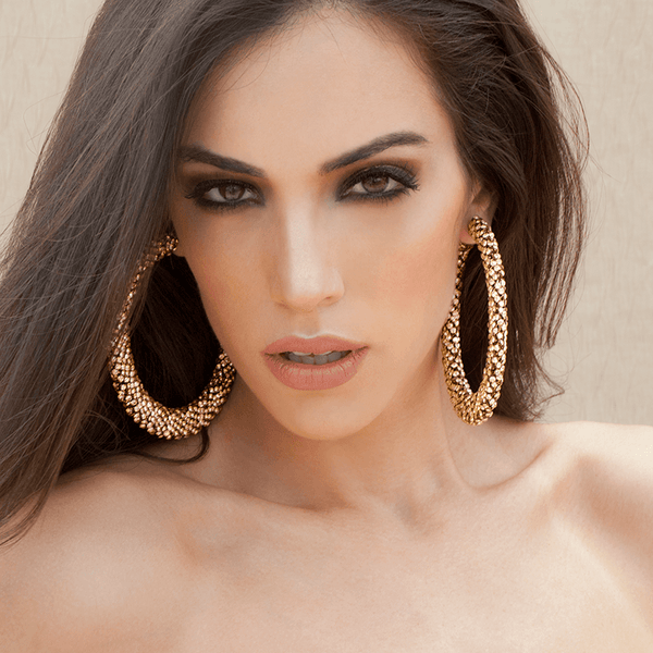 Hoop Earrings made of Swarovski Crystals, Rhodium Plated named Sparkly Crescent Gold - photo of jewelry with model